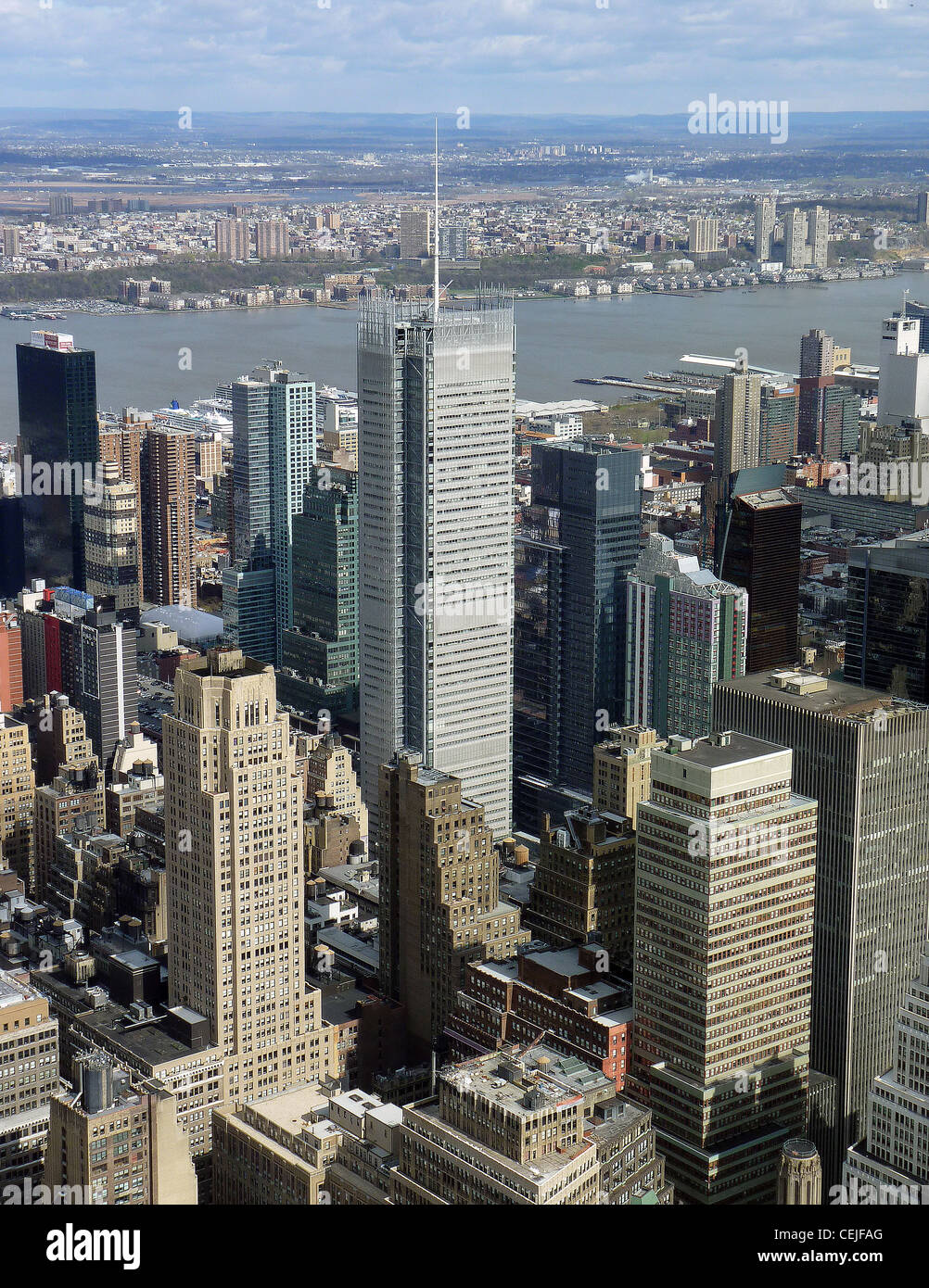 New York Times building and Hudson River in Manhattan, New York, USA - Stock Image