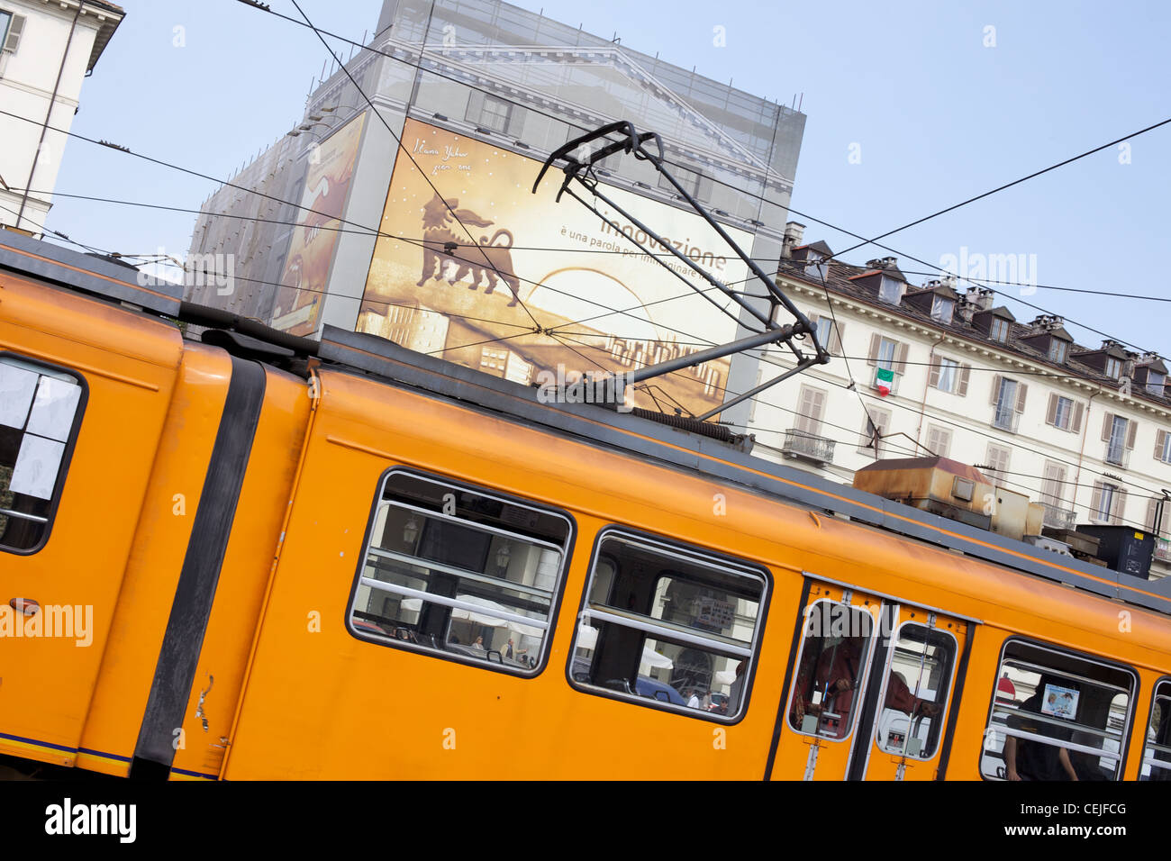 Picture of Tram in Turin City Centre - Stock Image