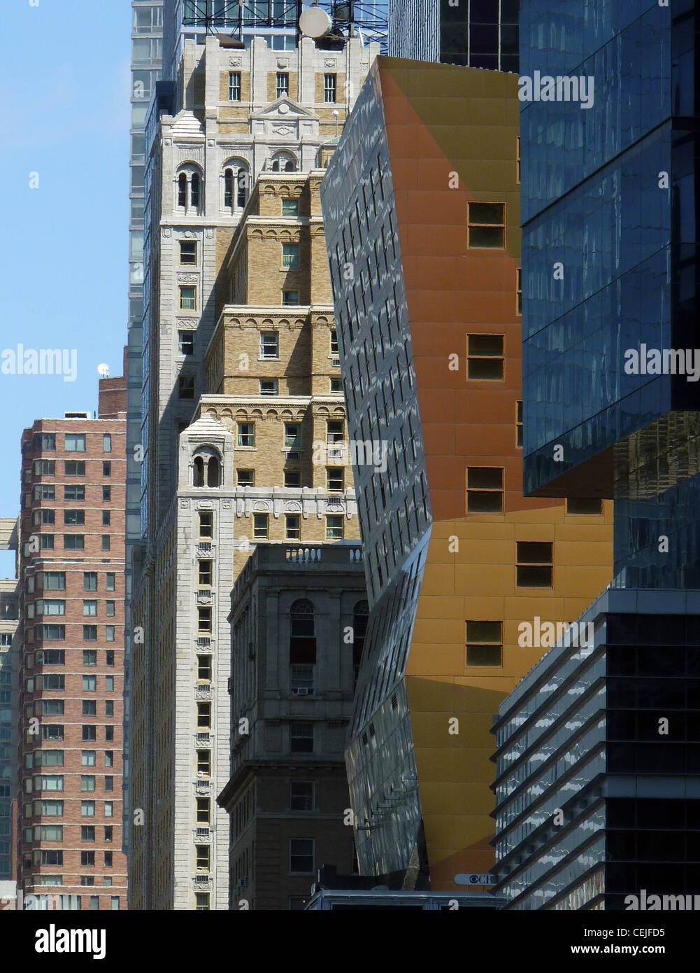 Old and new facades on 42nd street in Manhattan, New York - Stock Image