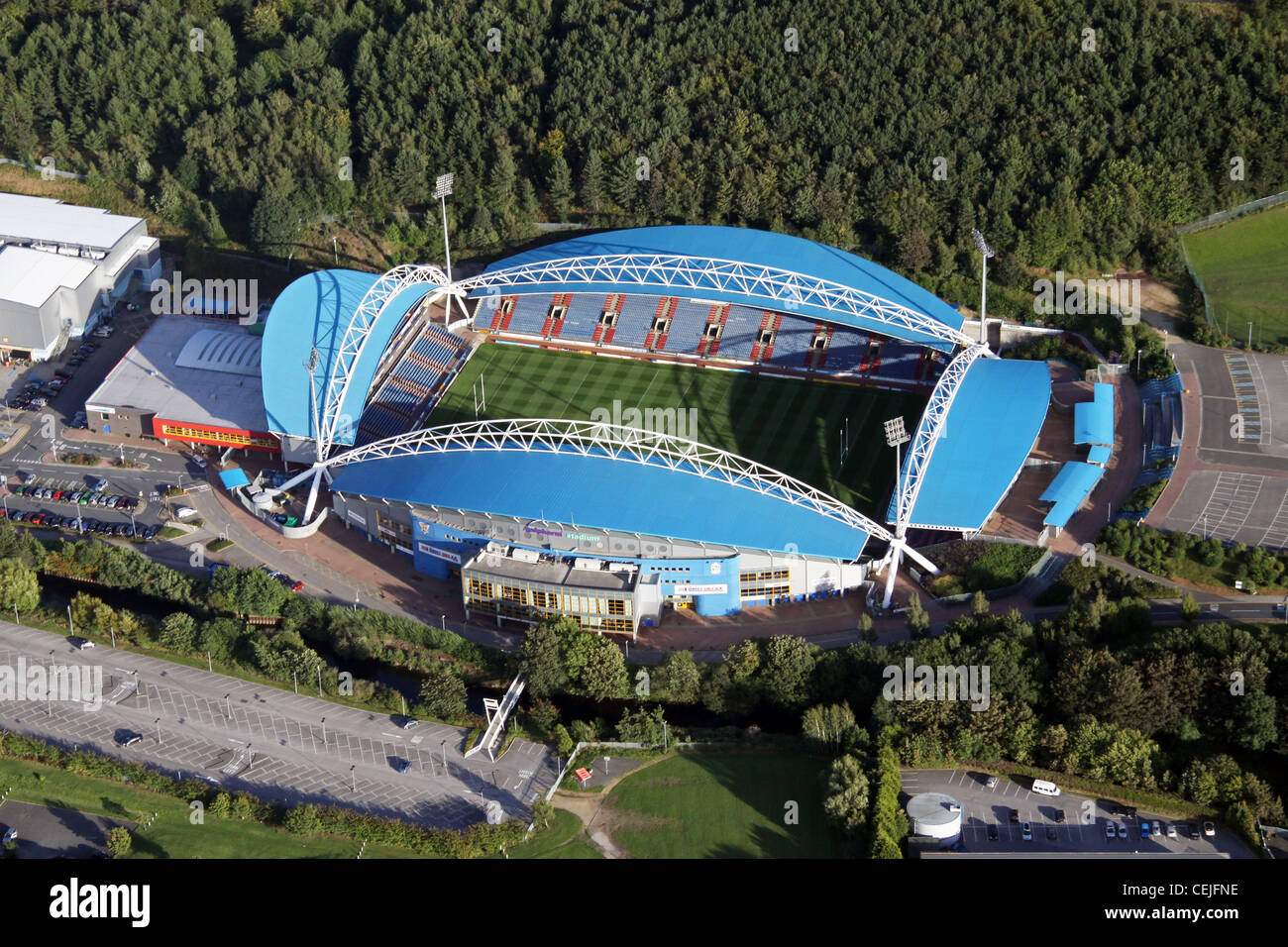 Aerial image of the John Smith's Stadium, formerly  the Galpharm Stadium, home of Huddersfield Town FC & - Stock Image