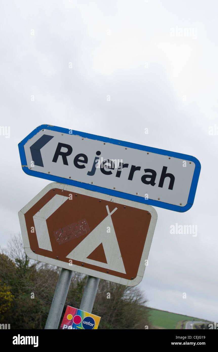 Roadsign dipicting unusual placenames of Cornwall. - Stock Image