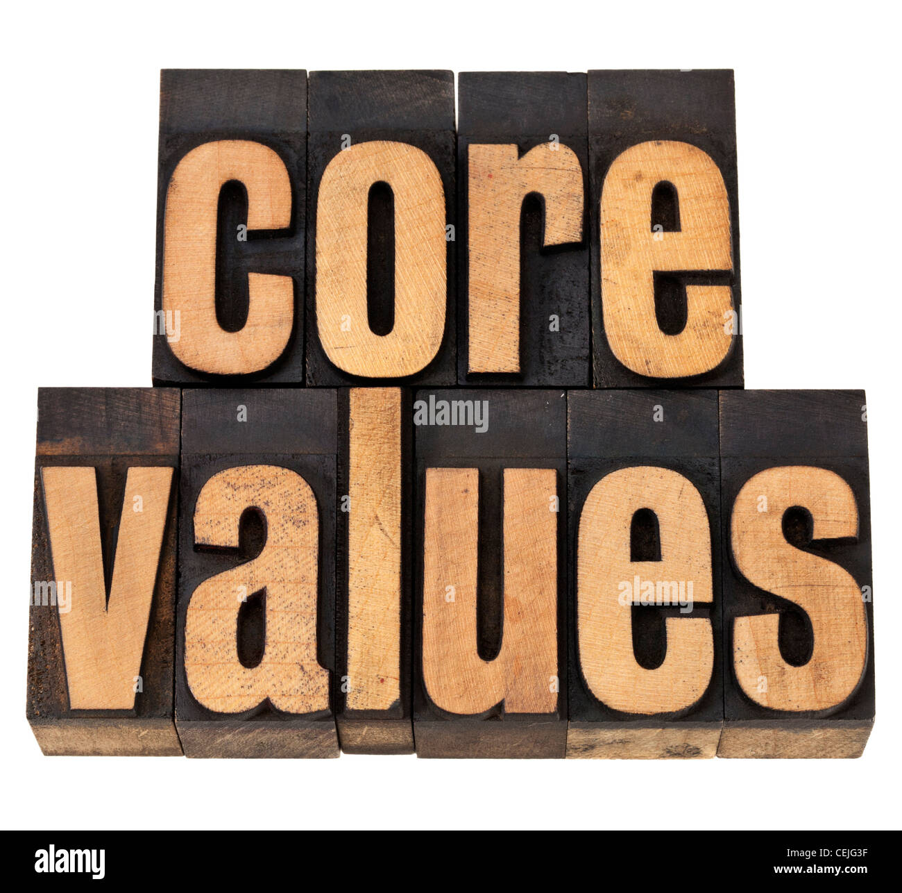 core values - ethics concept - isolated text in vintage letterpress wood type - Stock Image