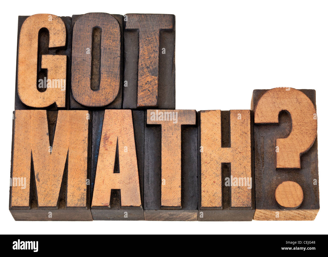 Got math question - isolated text in vintage letterpress wood type - Stock Image