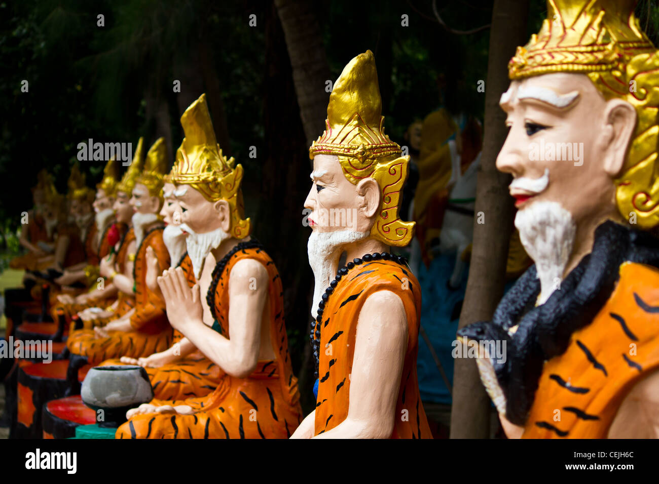 Ascetic statue in Thai style molding art - Stock Image