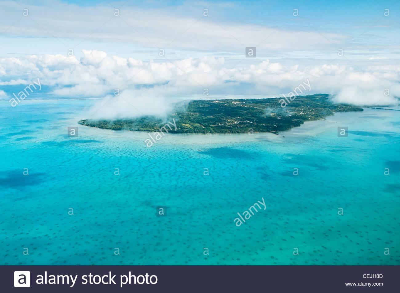 Aerial view of lagoon and Aitutaki Island, Cook Islands. - Stock Image