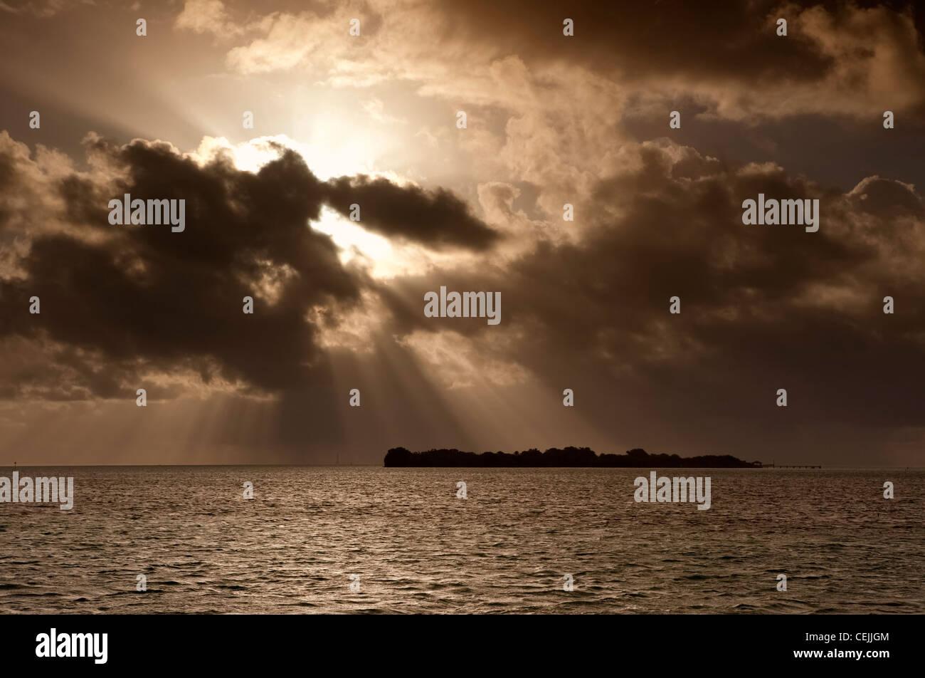 Sunbeams over the Florida Keys, Florida, USA Stock Photo