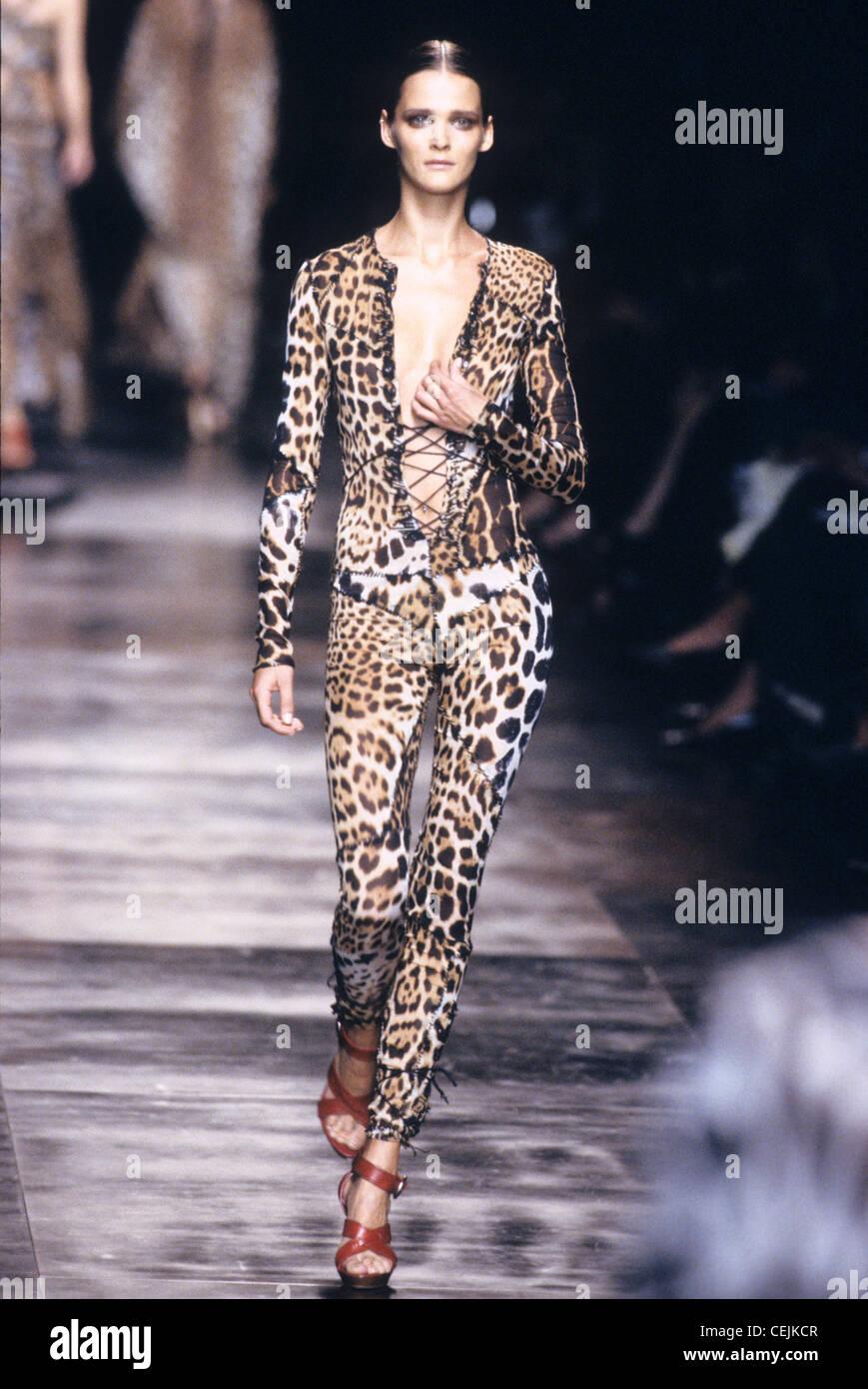 e167b814fb8 Yves Saint Laurent Spring Summer Estonian model Carmen Kass wearing laceup  brown leopard print catsuit