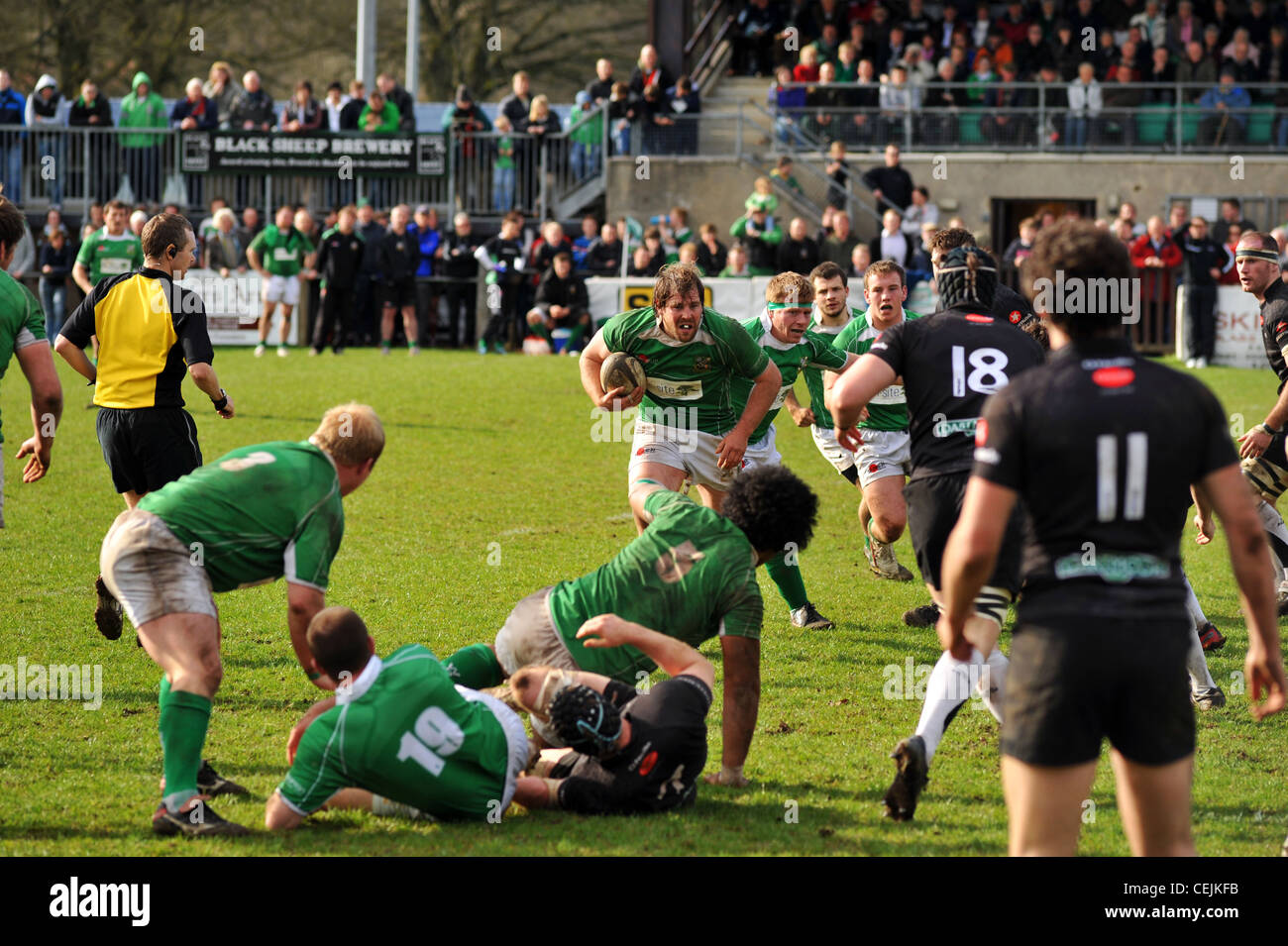 Rugby game, Wharfedale Rugby Union Football Club, North Yorkshire UK Stock Photo