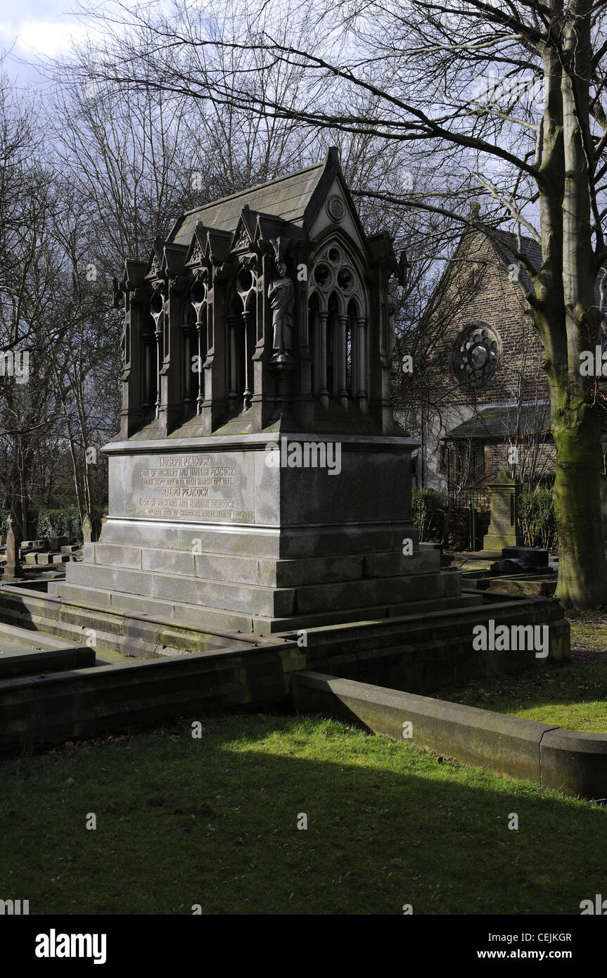 Peacock family grave & memorial at Brookfield Church, Hyde Road, Manchester - Stock Image