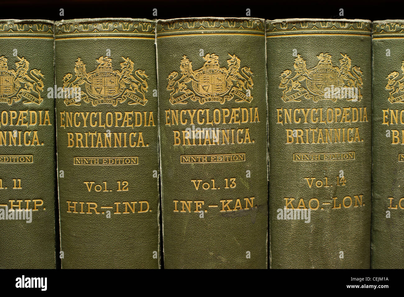 Green leather bound Encyclopaedia Britannica books - Stock Image