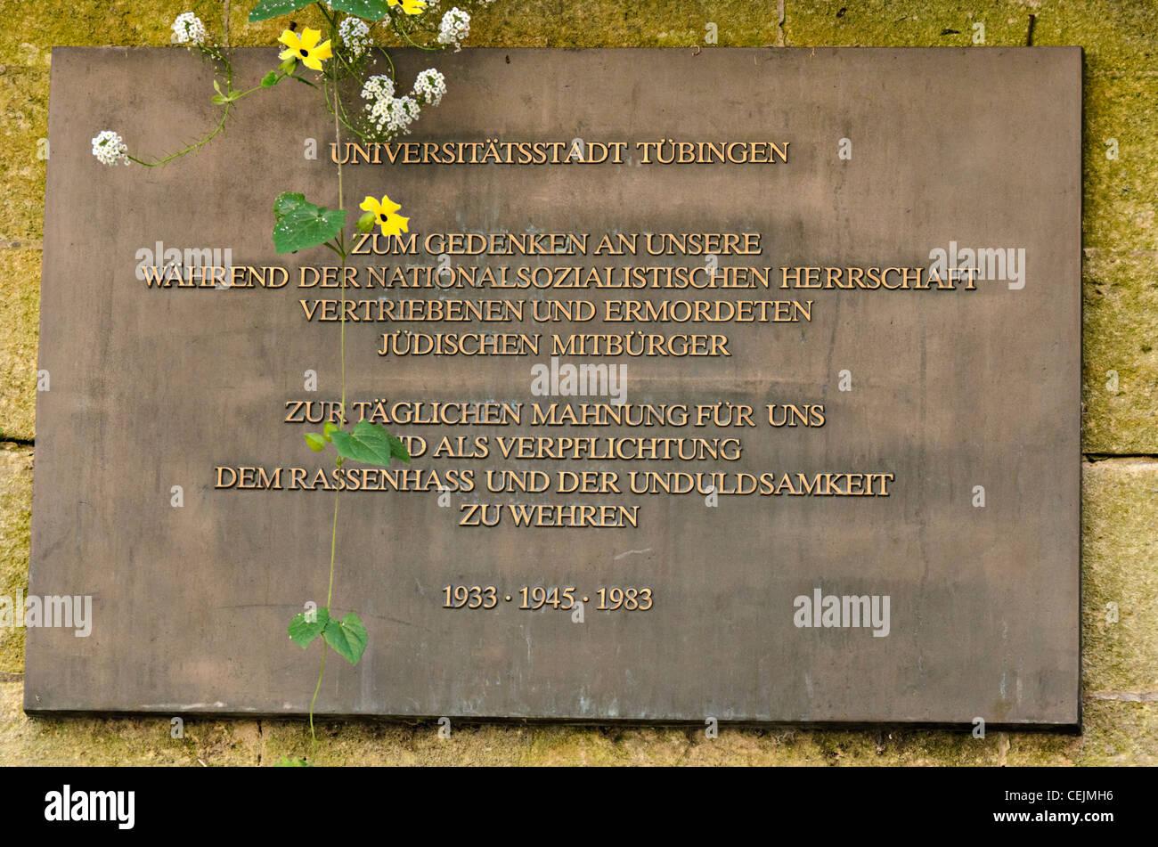 Memorial plaque to Jewish victims of the Nazis in Tübingen city center, 1933-1945-1983, Germany Stock Photo