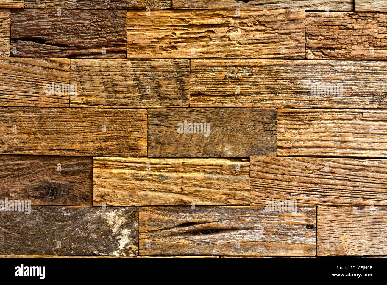 brown old wood texture with natural patterns for background - Stock Image