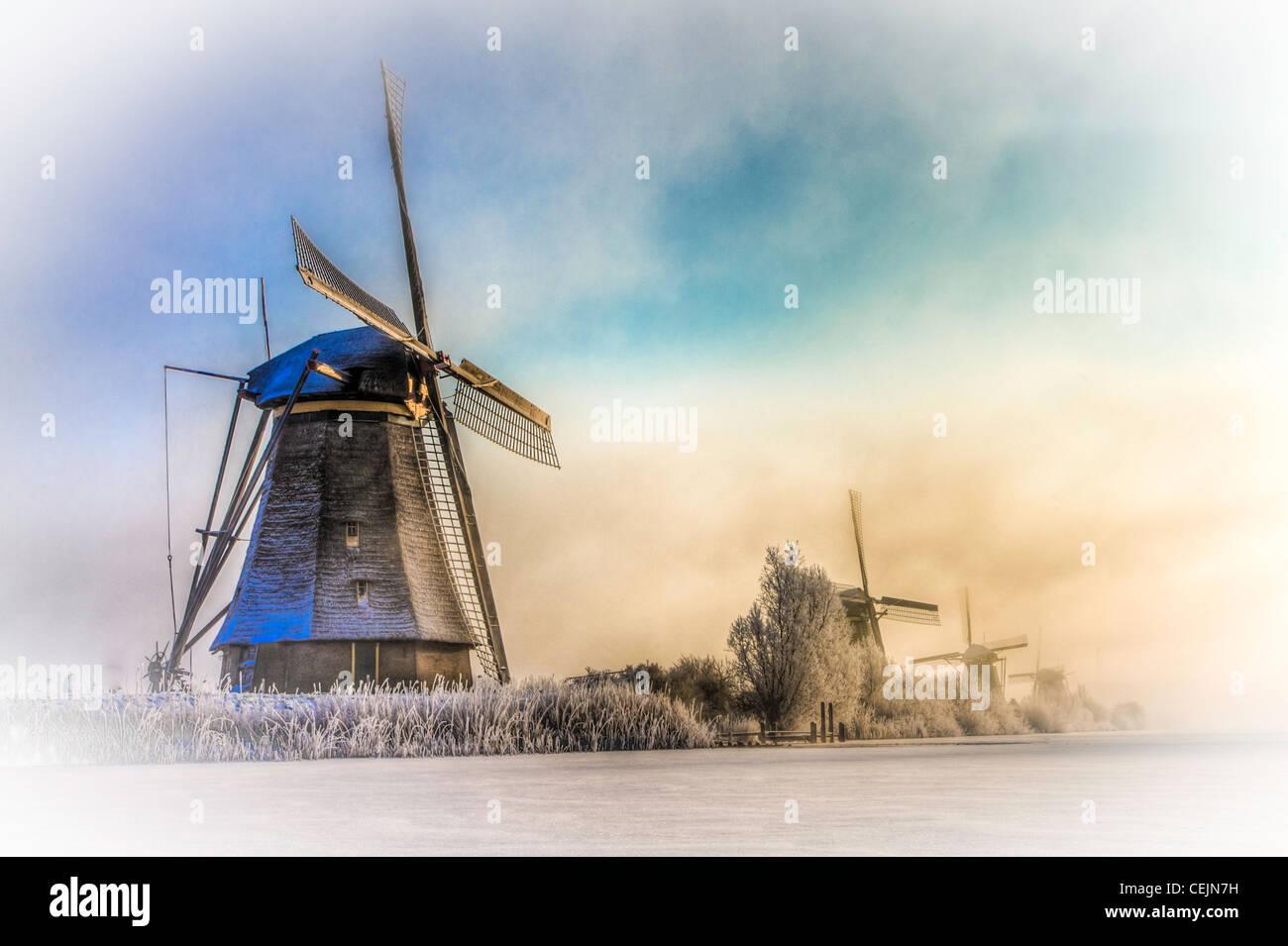 Mills at kinderdijk the netherlands - Stock Image