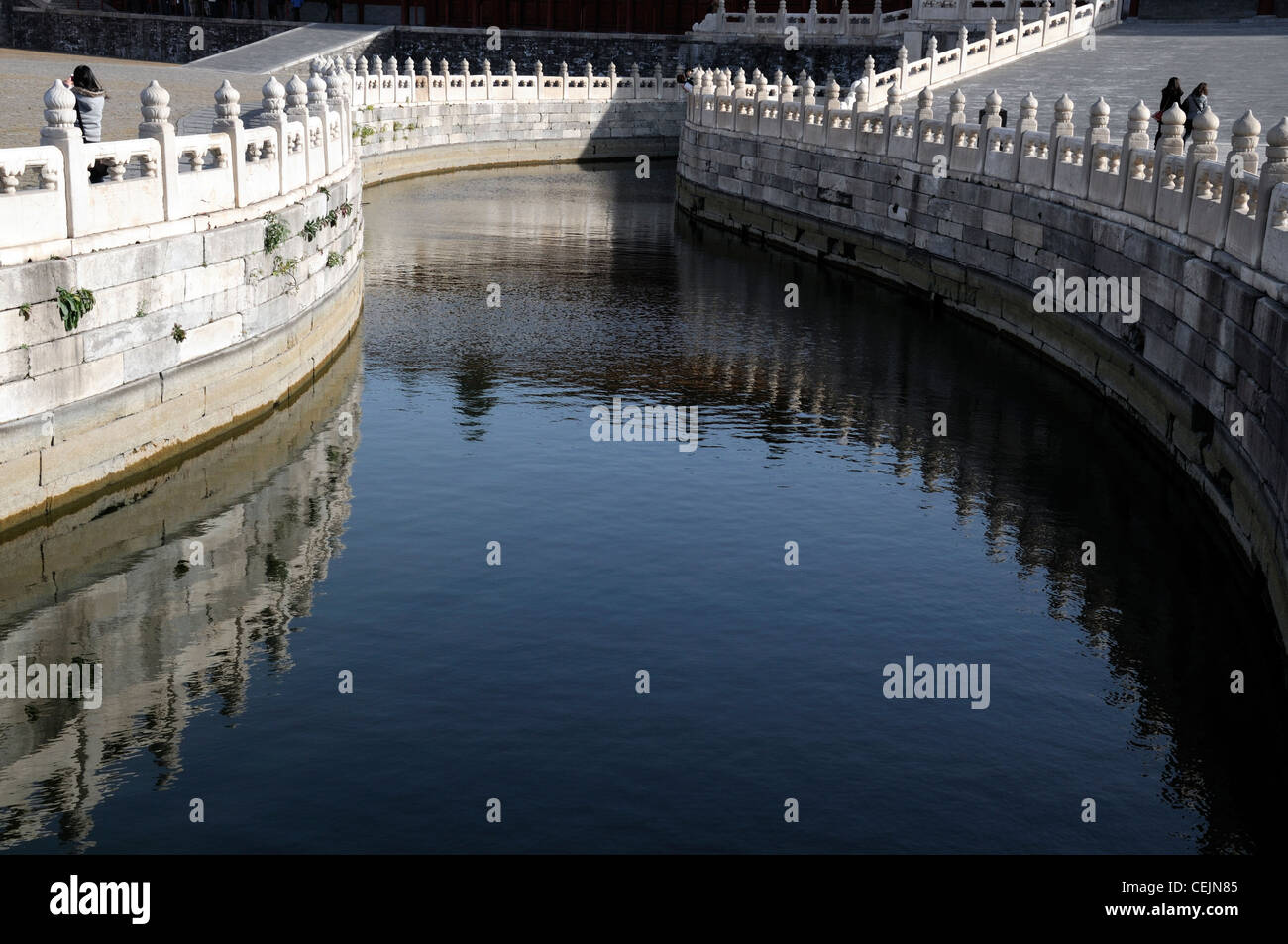 white stone marble wall first courtyard inner golden river forbidden city beijing Stock Photo