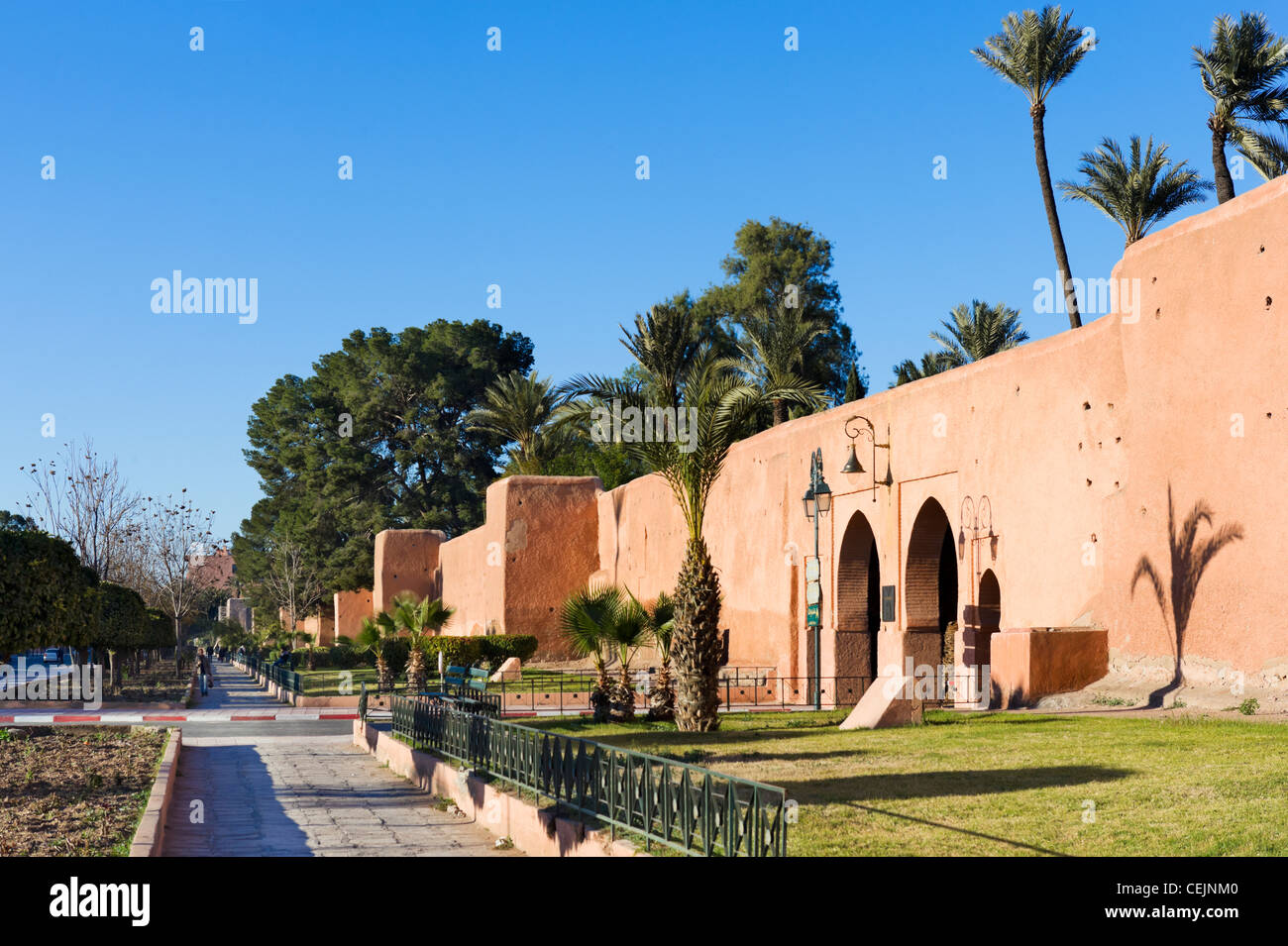 Old city walls surrounding the Medina district, Marrakech, Morocco, North Africa - Stock Image