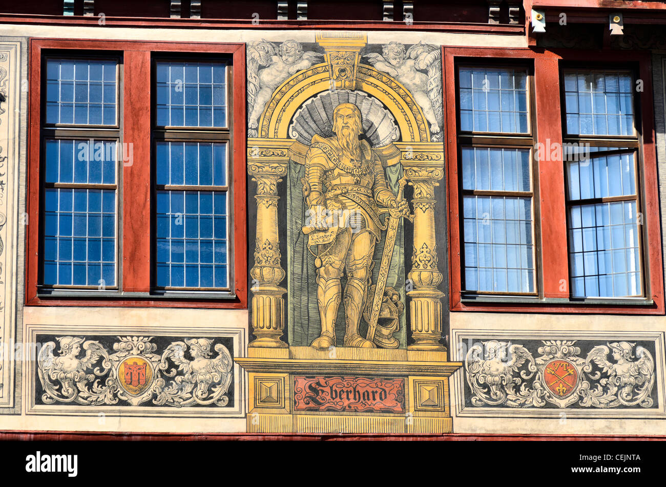 Painted Image of Eberhard I Duke of Württemberg on facade of the town hall of Tübingen, 'Portraet - Stock Image