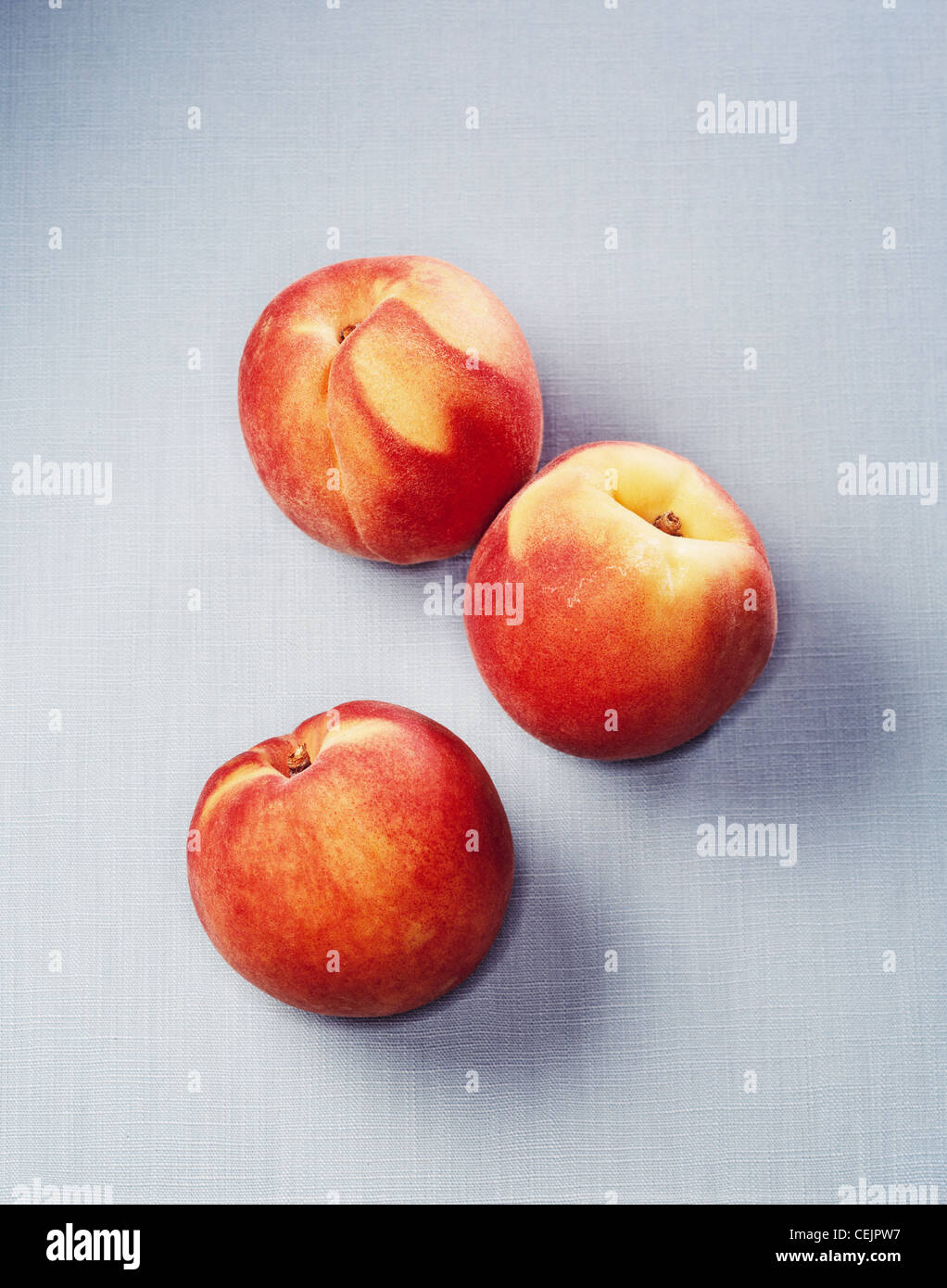 Peaches on a light grey background - Stock Image
