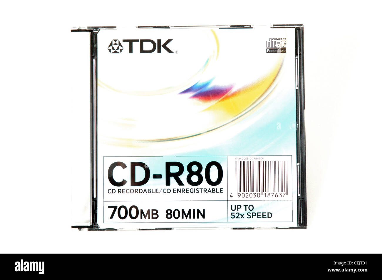 A TDK CD case on a white background - Stock Image