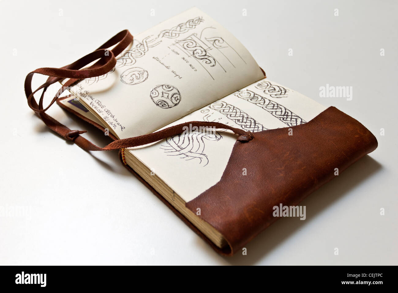 Handwritten and Hand painted Leather old sketch book vintage, personal diary, fully released if necessary - Stock Image