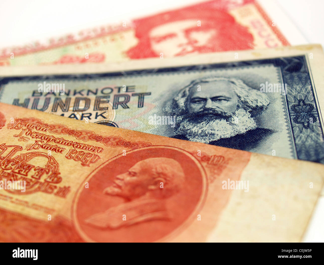 Money from the Communist countries: CCCP SSSR DDR Cuba - Stock Image