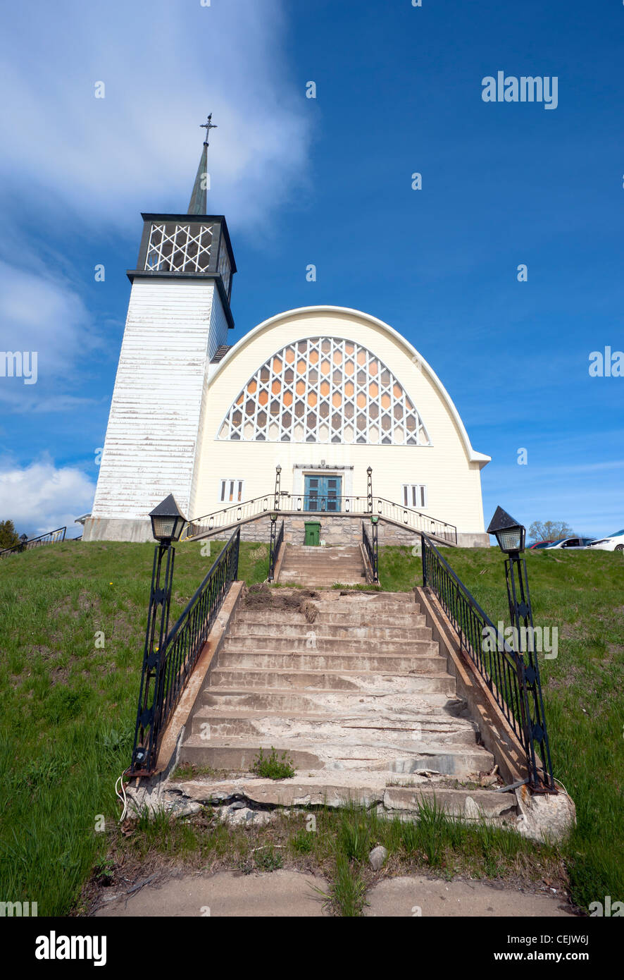 Neglected church in the Charlevoix region, province of Quebec, Canada. - Stock Image