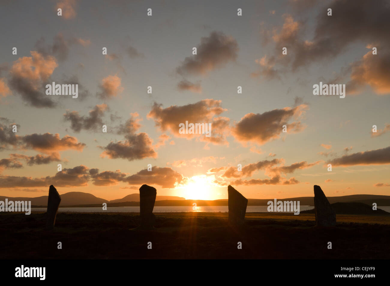 Orkney winter sunset at The Ring of Brodgar - Stock Image