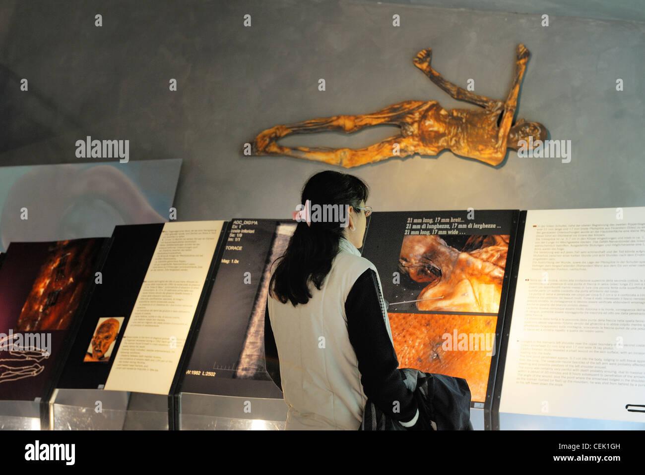 Archeoparc in Schnals village near Bolzano, Italy tells story of Otzi. Alpine prehistoric iceman found frozen in - Stock Image