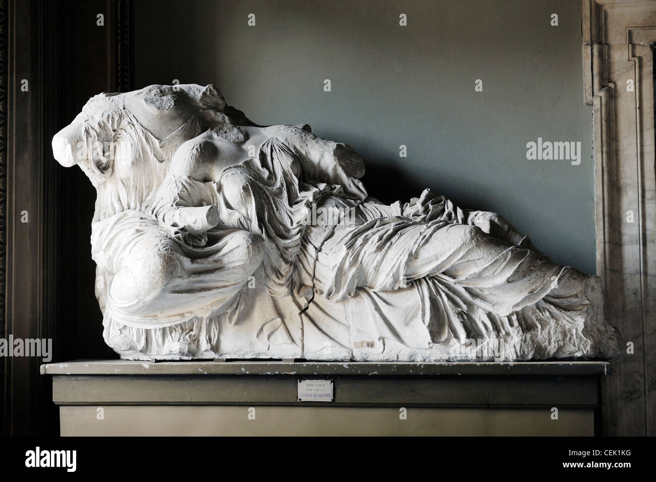 Copied from Athens Parthenon east pediment in local Carrara marble. Rocca Castello museum, Carrara, Italy. Diona - Stock Image