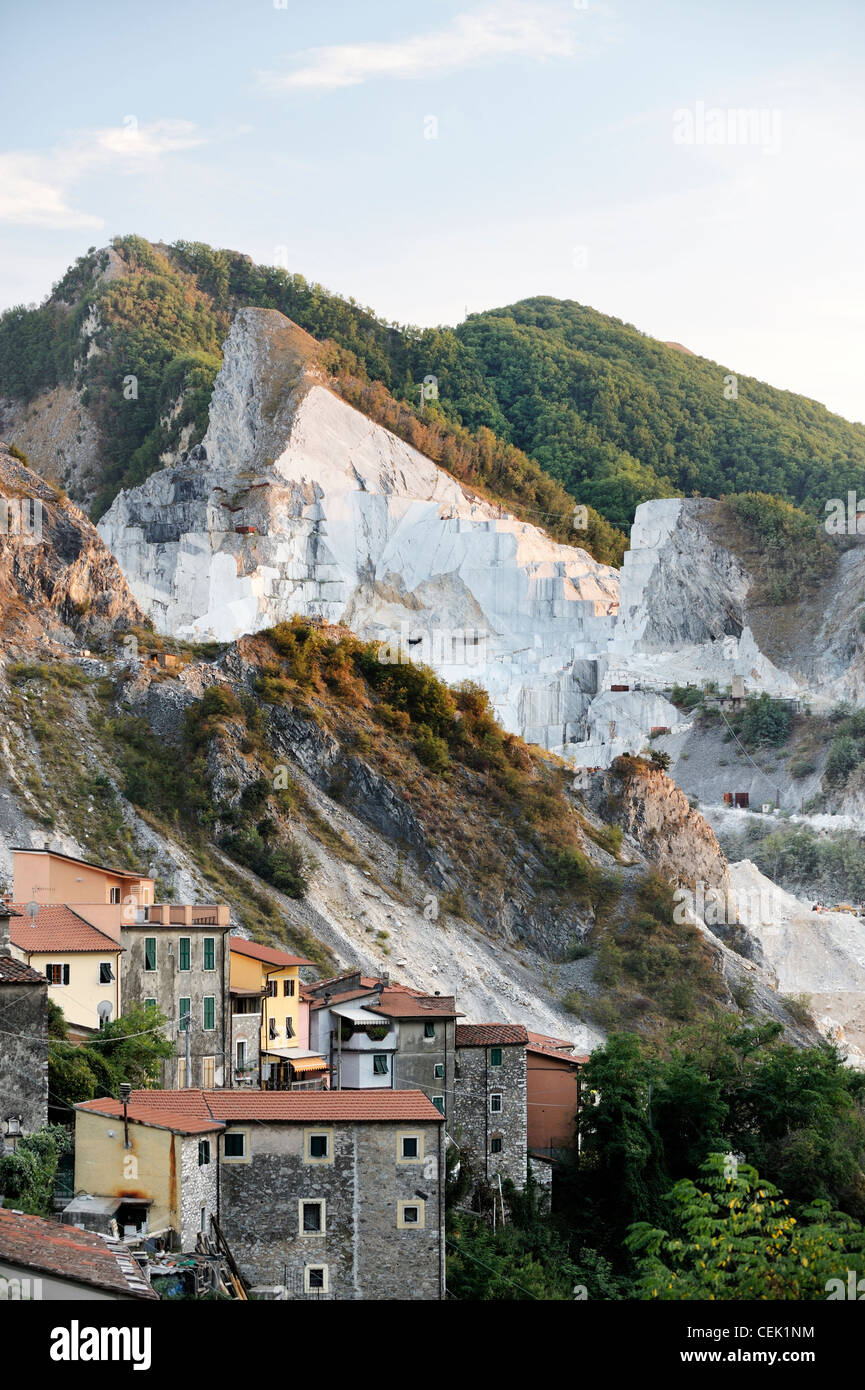 Quarry village of Colonnata in the famous Carrara marble region of the Apuan Alps limestone mountains of Tuscany, Stock Photo