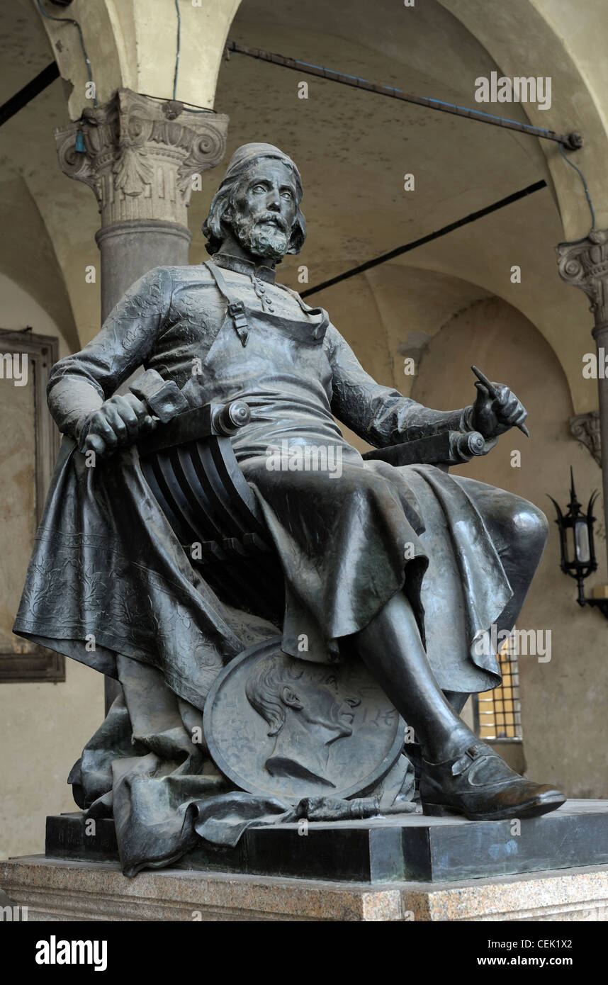 Bronze statue of Matteo Civitali in the city of Lucca, Tuscany, Italy. Renaissance sculptor architect engineer born - Stock Image