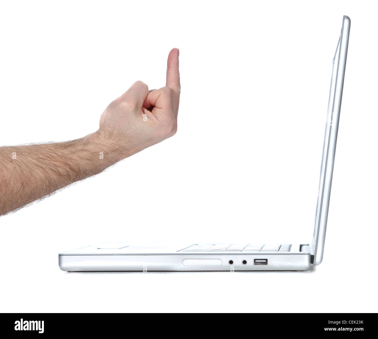 Flipping a Laptop computer the bird - Stock Image