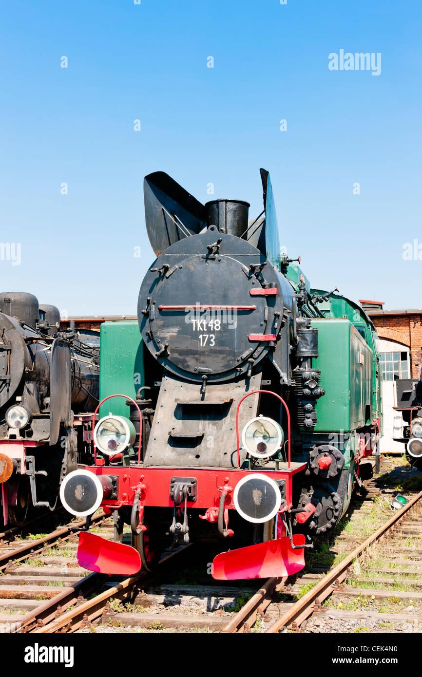 steam locomotive in railway museum, Jaworzyna Slaska, Silesia, Poland - Stock Image