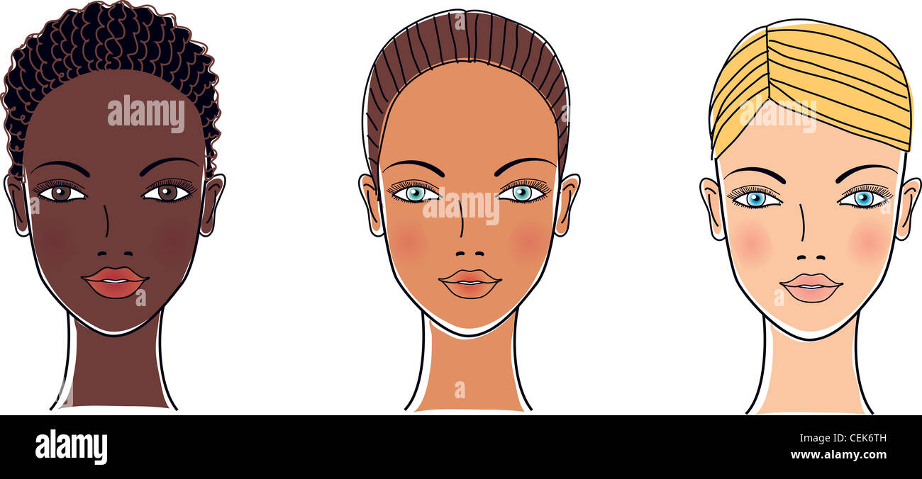 Complexion Types From Dark To Pale Skin Stock Photo