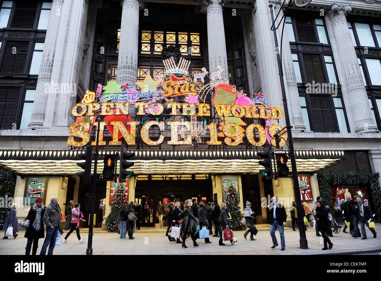 0b71762e63946 Christmas decorations on the Selfridges store in London - Stock Image