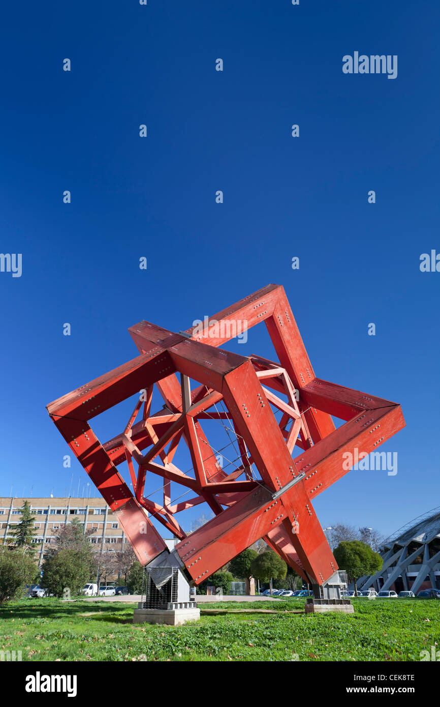 The cube,sculpture by Mario Ceroli, Rome, Italy - Stock Image