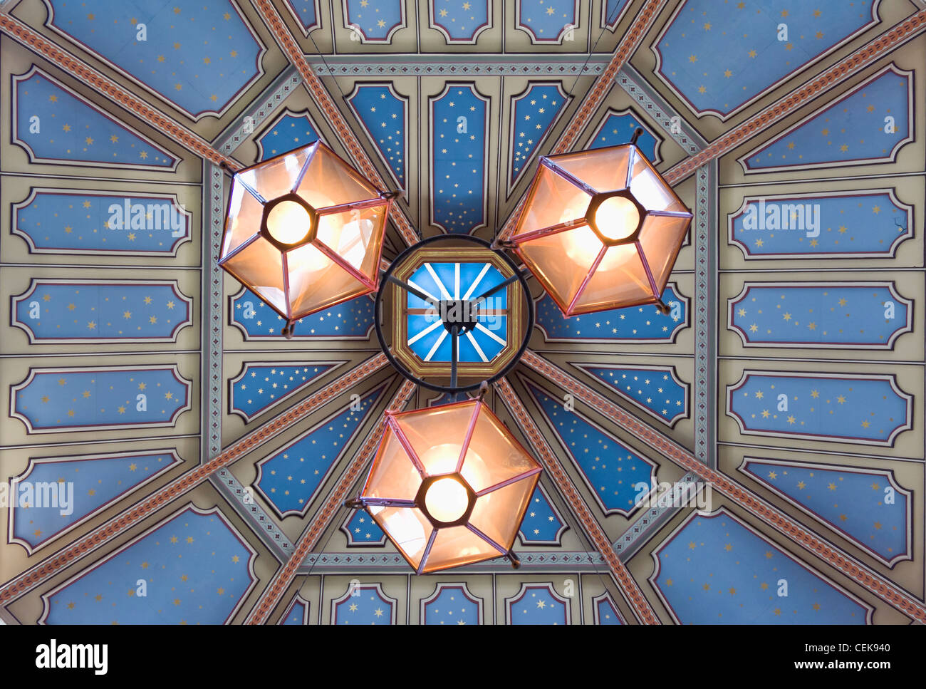 The glass roof at Leadenhall Market, London, England - Stock Image