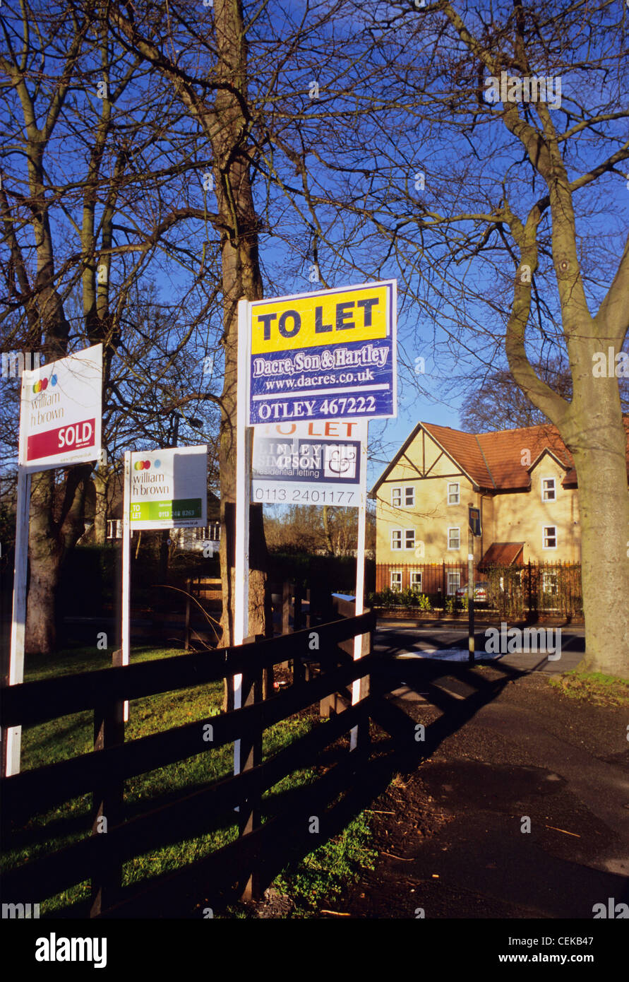 numerous for sale and to let signs outside homes in leeds yorkshire uk - Stock Image