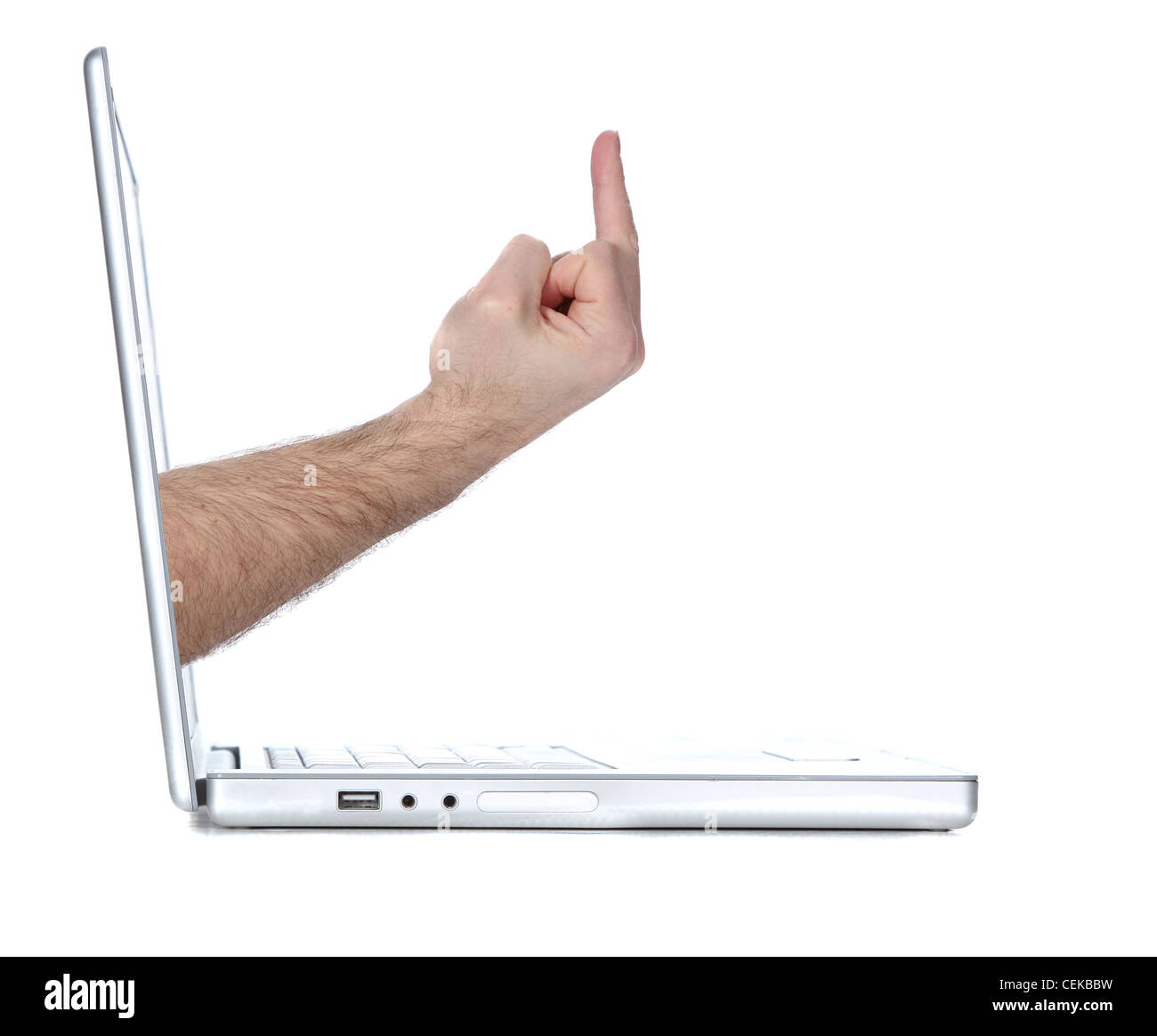 Laptop computer flipping a user the bird - Stock Image