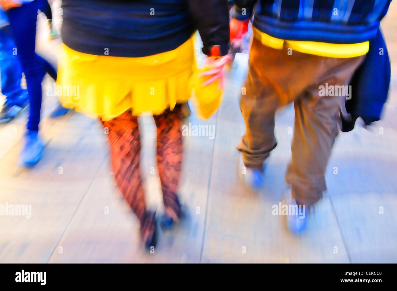 Barcelona, Spain. Digitally-enhanced feet walking - Stock Image