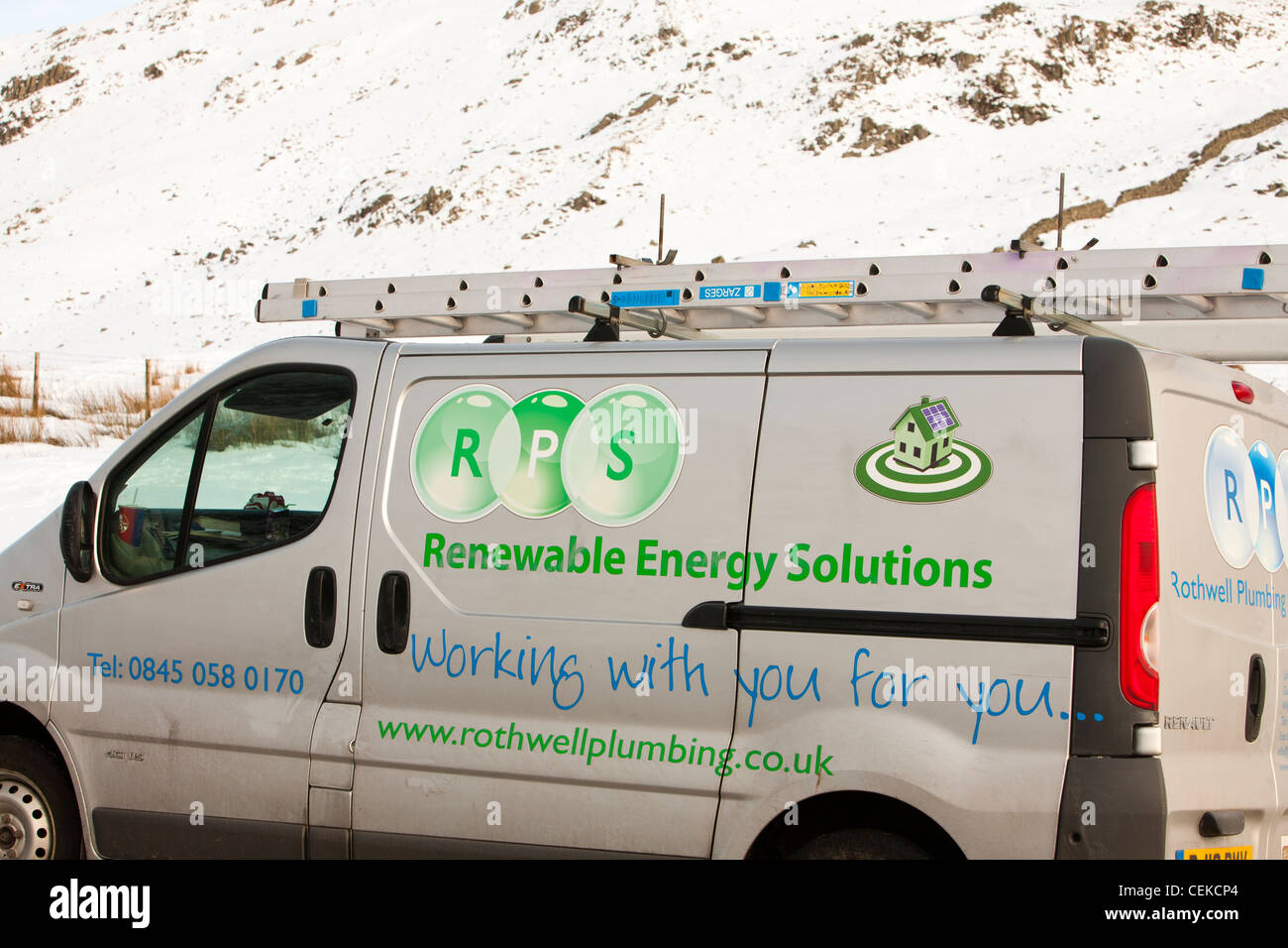 A renewable energy company van on Kirkstone Pass in the Lake District, UK. - Stock Image