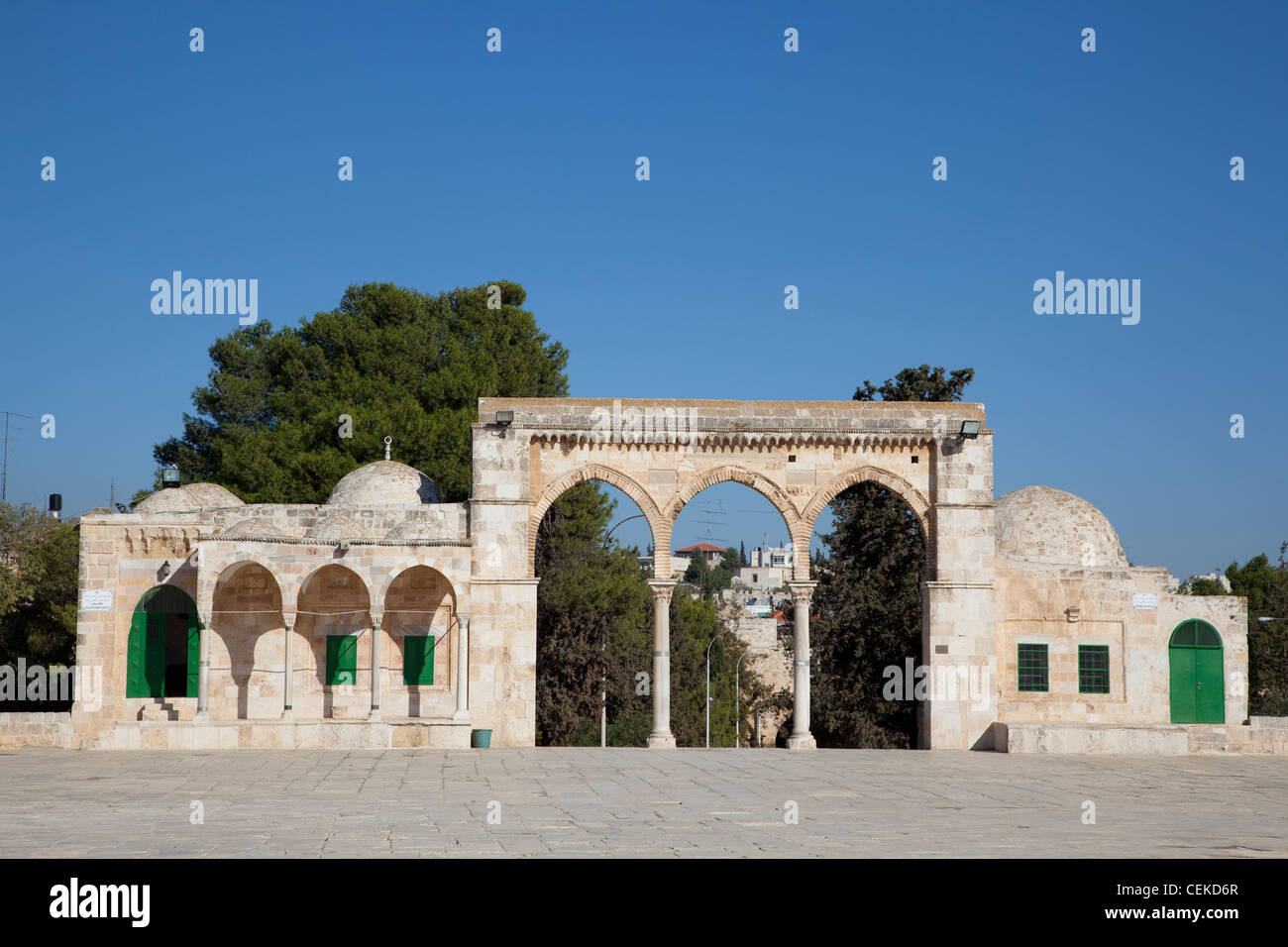 This arcade on Temple Mount built in Mamluk period in 1321 three arches supported two earlier Byzantine marble columns - Stock Image