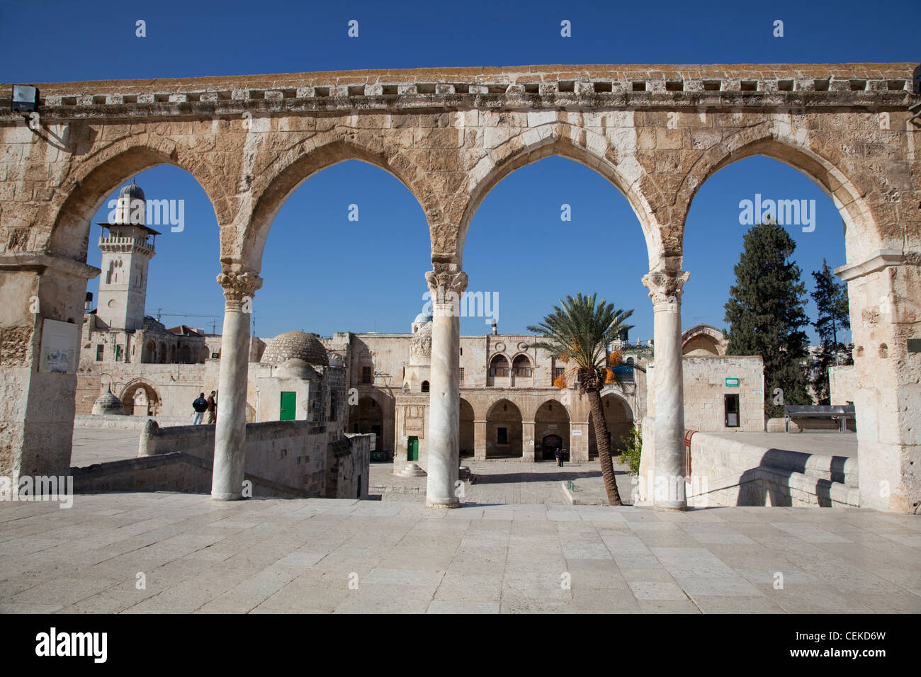 This arcade located west Dome Rock four arches resting on three marble columns Corinthian capitals Old City Jerusalem - Stock Image