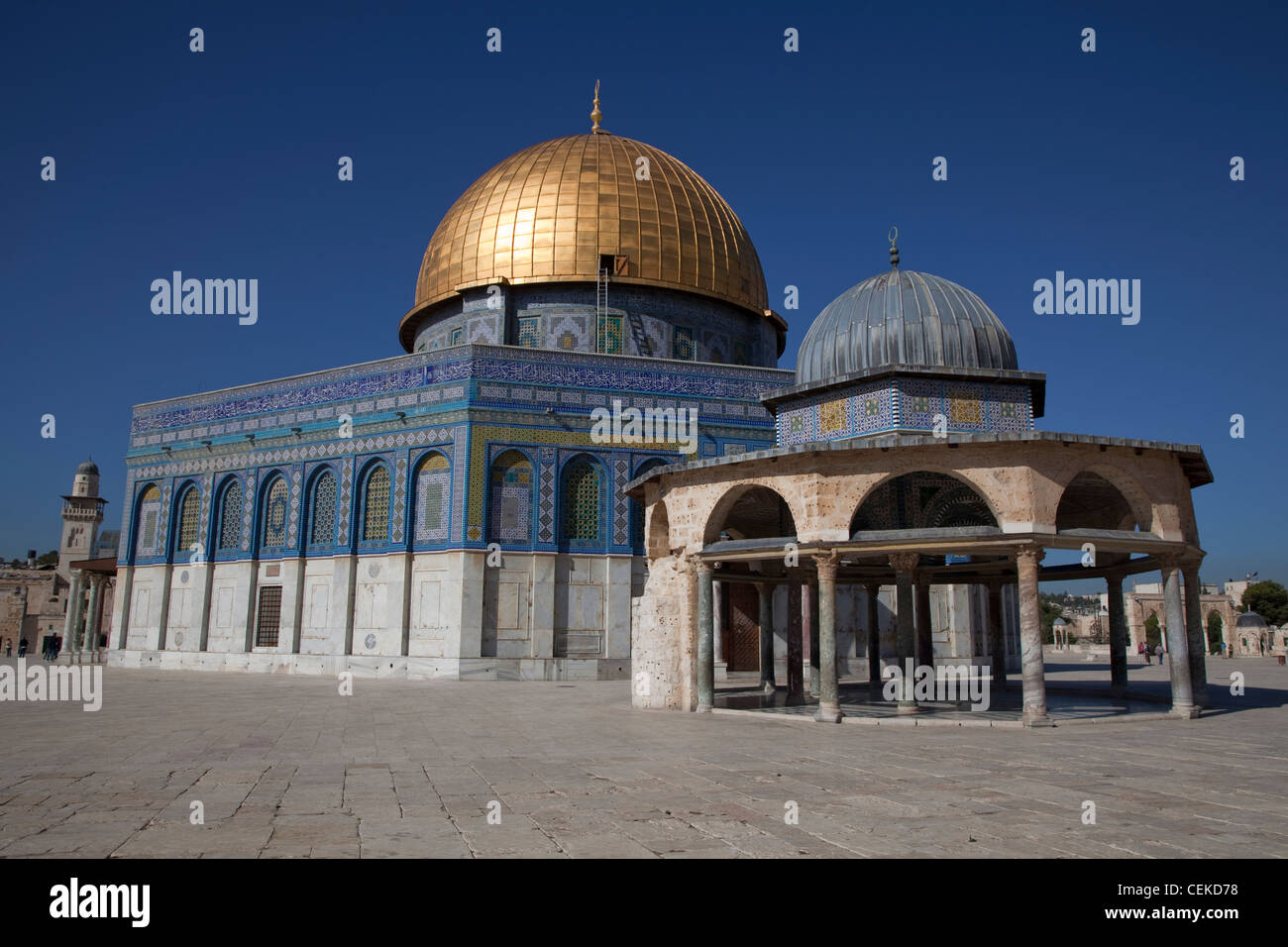Dome Rock oldest Islamic monument standing Muslim shrine built sacred stone 'Foundation Stone' stone holiest - Stock Image