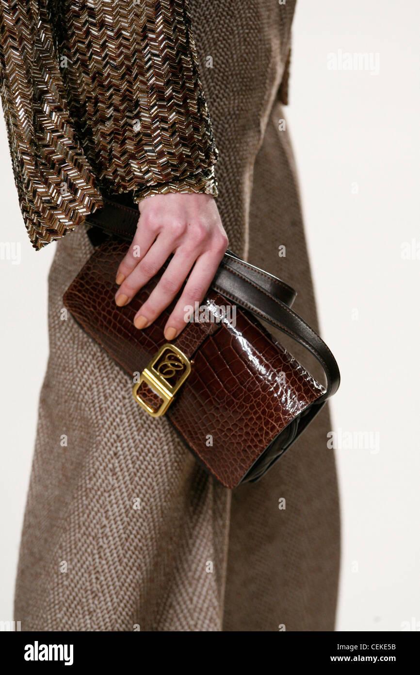 Chloe Paris Ready to Wear Autumn Winter Brown croc leather handbag - Stock Image