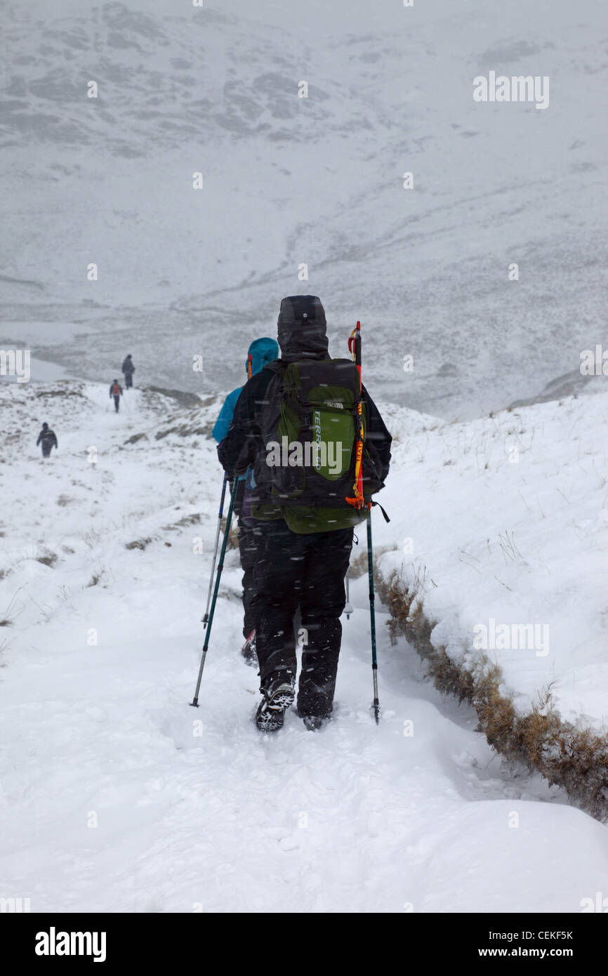 Well Equipped Hill Walkers in a Snow Storm Near Angle Tarn Pikes Lake District Cumbria UK - Stock Image