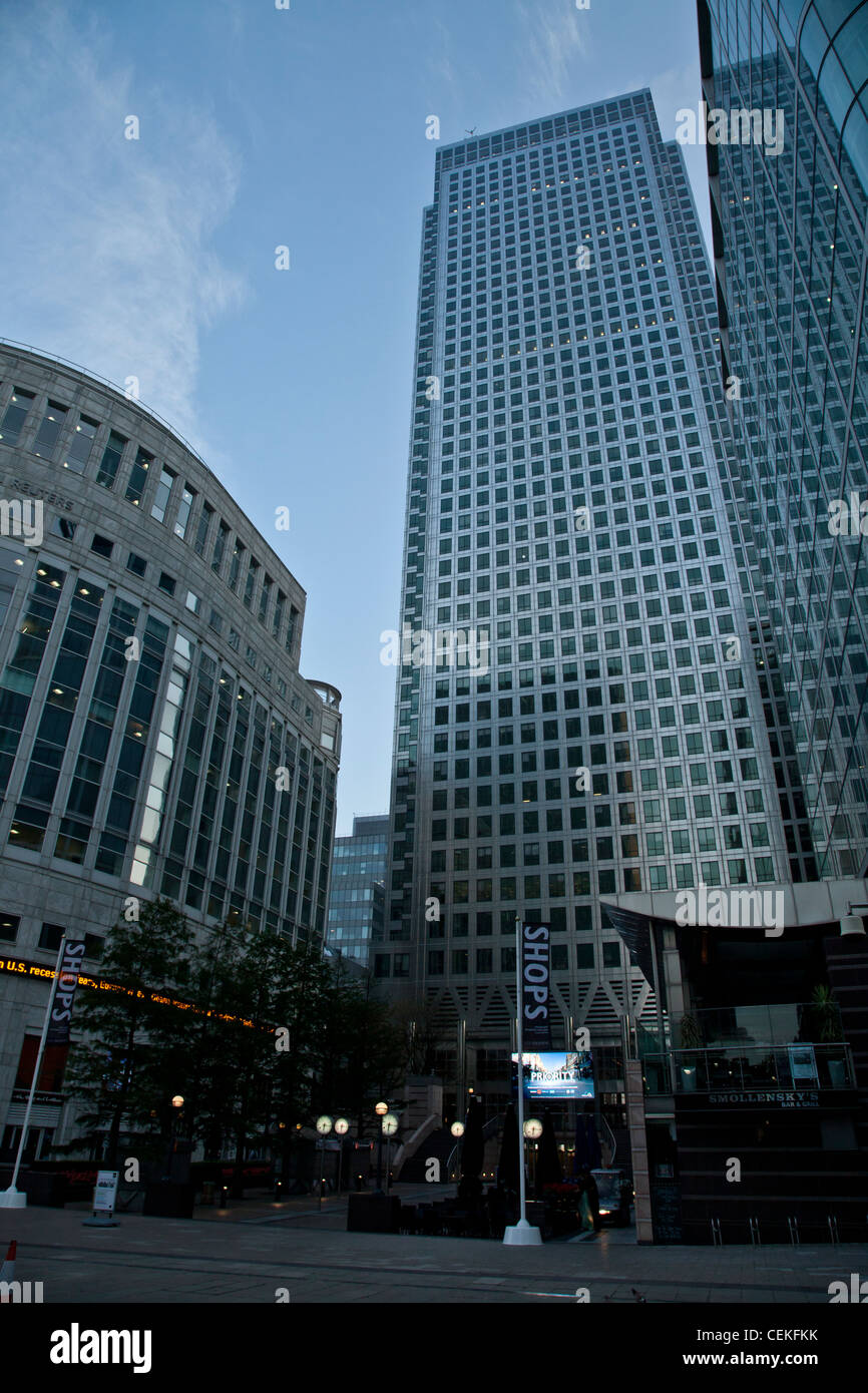 Canary Wharf London, portrait of canary wharf shops and skyscrapers - Stock Image
