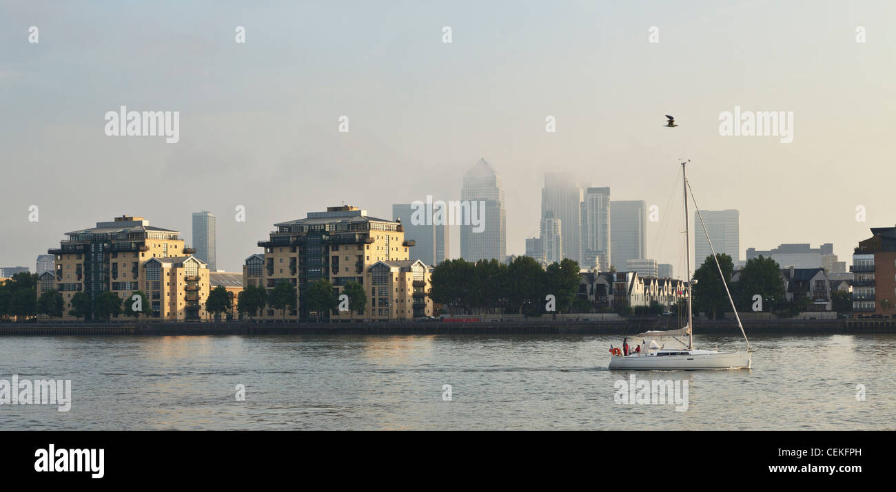 Canary Wharf on an August moring - Stock Image