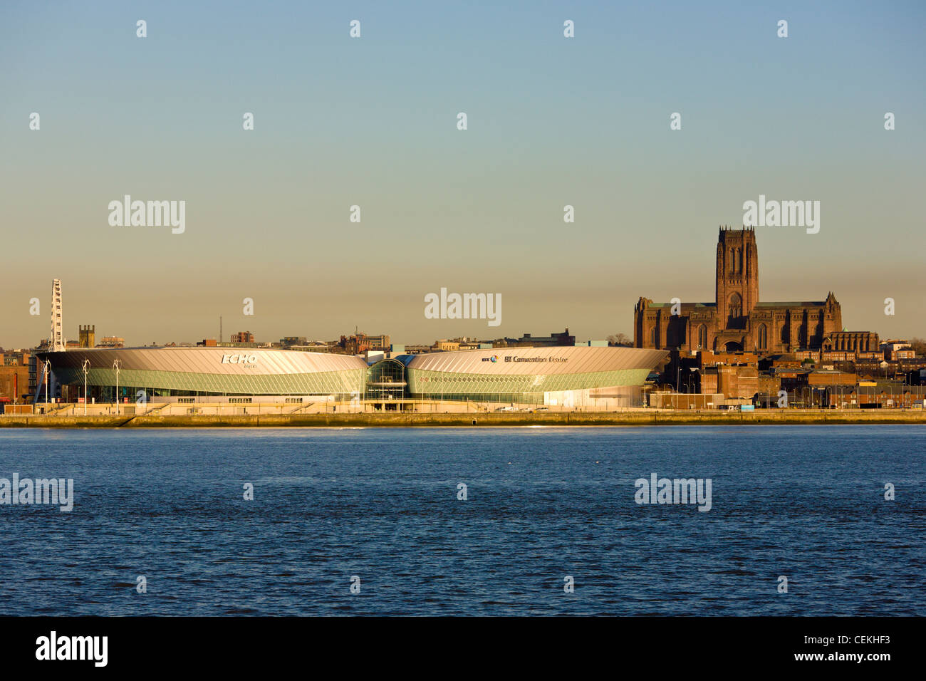 Echo Area and Anglican Cathedral, Liverpool - Stock Image
