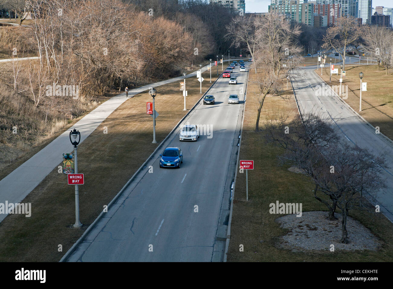 Cars have plenty of room on this boulevard in Milwaukee. - Stock Image