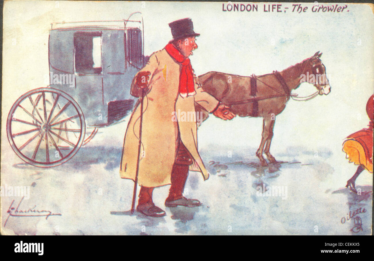 Postcard by artist Lance Thackeray titled London Life:  The Growler. - Stock Image